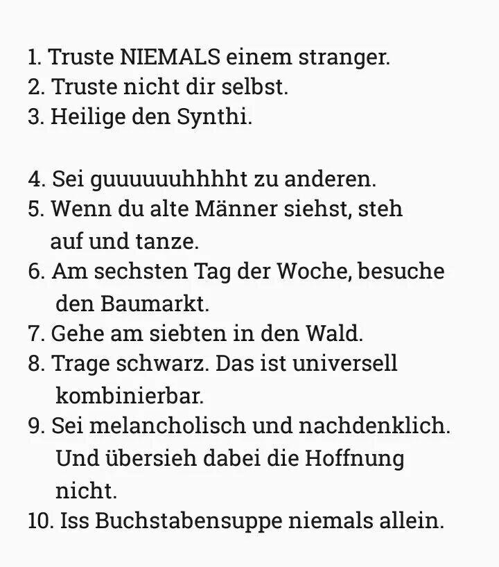Die 10 Gebote des Rüdigers, meine Damen und Herren.