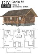"""DIY Cabins: DIY Cabins is a site dedicated to providing complete architectural and structural plans of affordable cabins for the """"do-it-yourself 'ers"""". Log Cabin #3"""