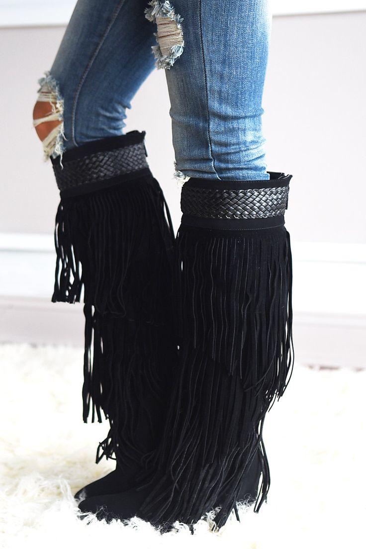 Do it Dolly Style Fringe Boots ~ Black