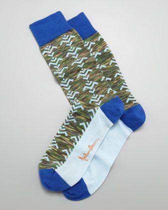 Tribal Camo Men\'s Socks, Green by Arthur George by Robert Kardashian at Neiman Marcus.