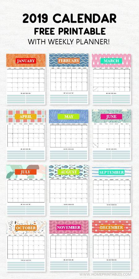 2019 calendar printable with weekly planner  super cute