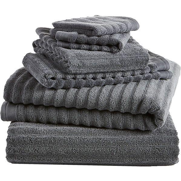 6-piece channel grey cotton bath towel set  w//2 bath towels, 2 hand towels, 2 washcloths| CB2  $77.70