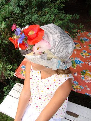 How to make paper bonnets. Try using butcher paper vs. newspaper. This tutorial shows children but appropriate as adult creations, especially with fresh flowers.
