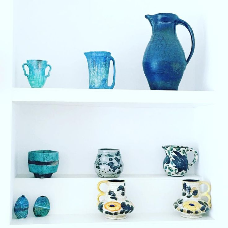 Colourful ceramics in the home of artist Helen Wells