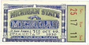 1930 at Ann Arbor: Michigan 0, Michigan State 0