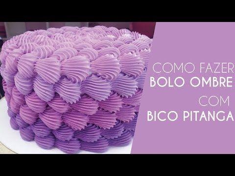 Como Fazer Bolo Ombre Com Bico Pitanga Grande 5B - YouTube