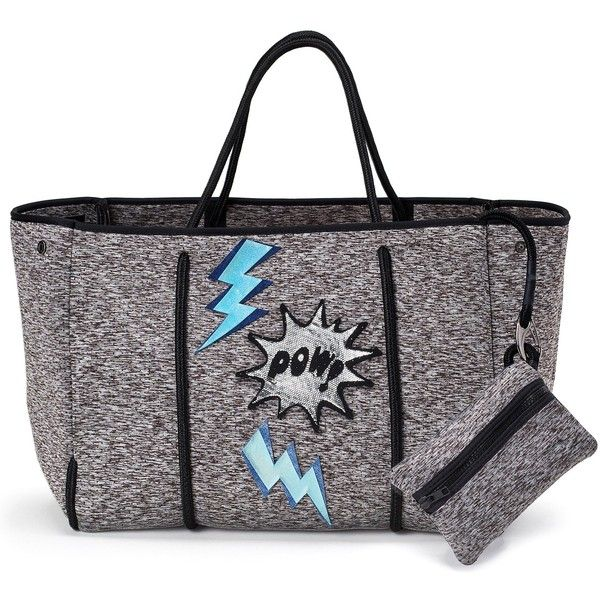 Lizzy James Rain or Shine Pow Tote Tote for Women ($116) ❤ liked on Polyvore featuring jewelry, beachy jewelry, bow jewelry, beach jewelry, lizzy james jewelry and lizzy james