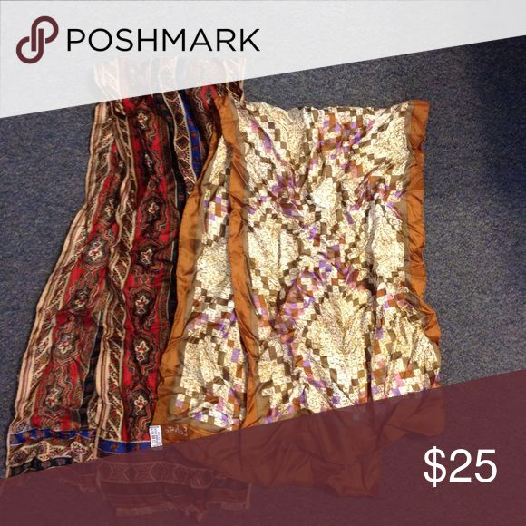 """2 Vintage Silk Echo Scarves Scarf Two beautiful vintage Echo scarves. Both are made of silk and in nice condition. One is 11"""" X 58"""" and the other is 14 1/2"""" X 46"""" Vintage Accessories Scarves & Wraps"""