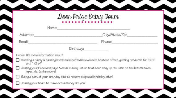 Direct sales door prize entry form- black chevron- instant - contest form template