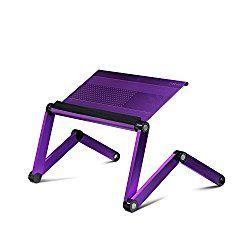 Furinno A6-Purple Ergonomics Aluminum Vented Adjustable Laptop Portable Bed Tray, Purple