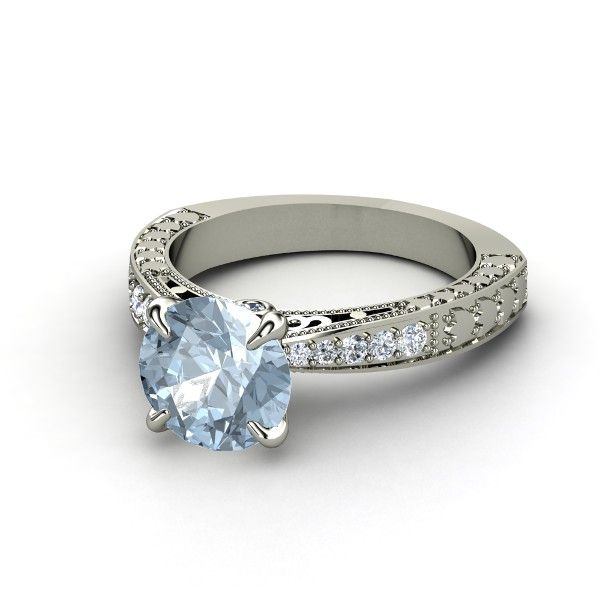 Round Aquamarine 14K White Gold Ring with Diamond | Megan Ring |  I love this ring this is my birthstone!!
