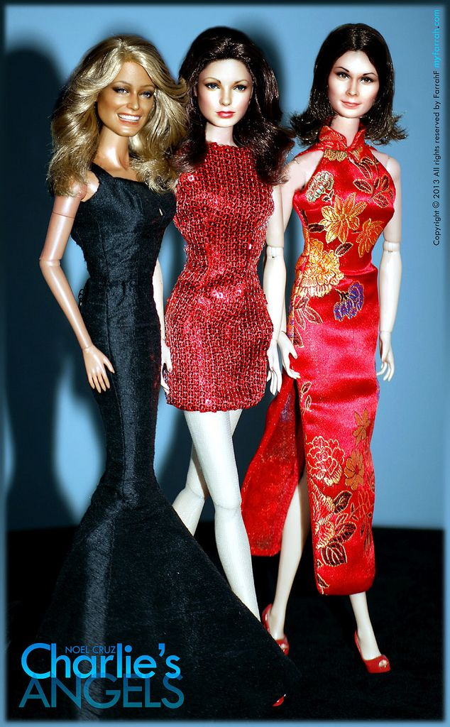 Farrah Fawcett, Jaclyn Smith (Barbie) and (Mattel TV Woman) Kate Jackson as Jill, Kelly and Sabrina of Charlie's Angels as repainted and restyled by artist Noel Cruz of http://www.ncruz.com for http://www.myfarrah.com