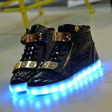Качество 7 Цвета Мужчины Женщины LED Обувь 2016 Осень Зима Высокой топ Растет…