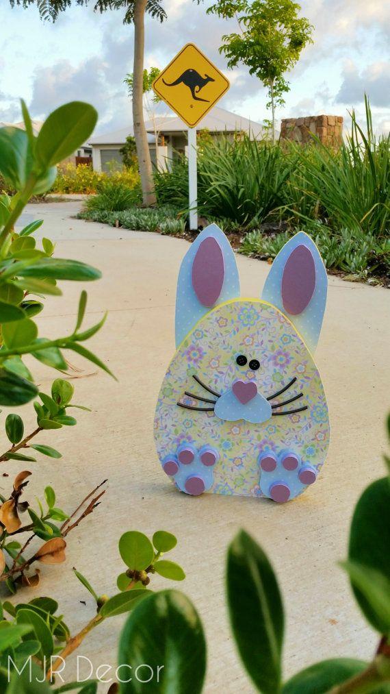 Easter Wood  Bunny Egg by MJRDecor on Etsy
