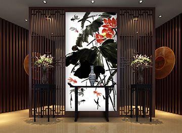 peinture à l'encre de Chine lotus en noir blanc et rouge