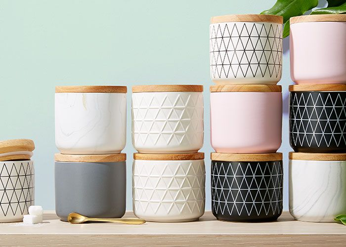 Assorted canisters.