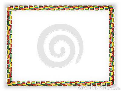 Frame and border of ribbon with the Cameroon flag. 3d illustration.