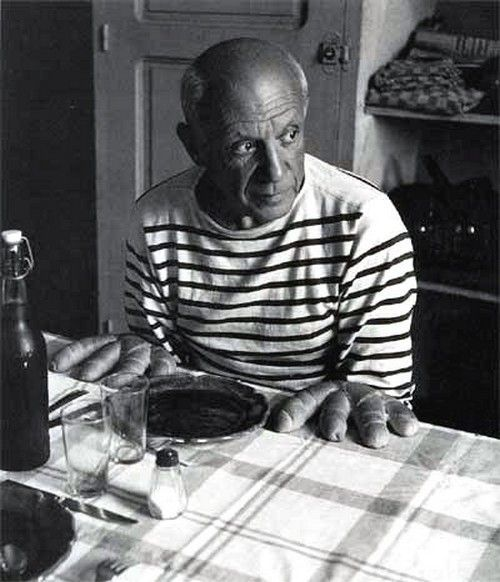 The Breton striped shirt came into being following the 27th March, 1858 Act of France which introduced the navy and white striped knitted shirt as the uniform for all French navy seaman. This one worn by Pablo, Picasso that is..