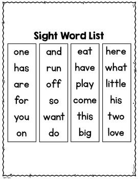 Sight Word Practice Kindergarten Set 2 Grade 1 English