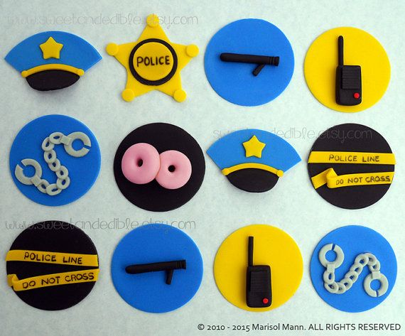 12 POLICE cupcake toppers. by SWEETandEDIBLE on Etsy