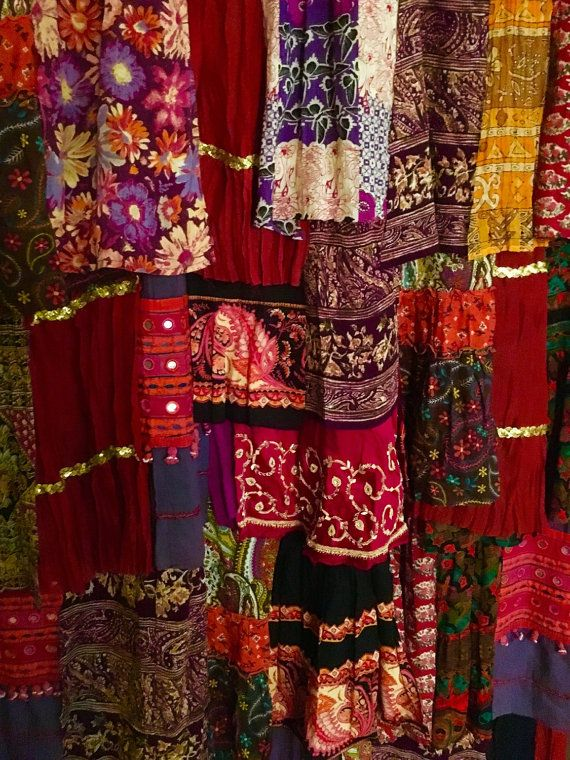 Bohemian Gypsy Curtain Vintage Bohemian Ruffle Curtain Changing Room Curtain  Door Or Closet Curtain Upcycled One