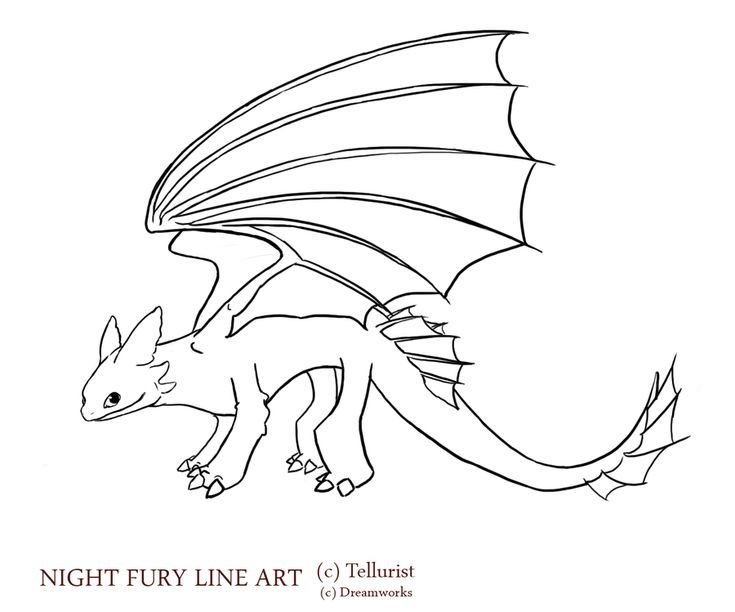toothless lineart by garitter