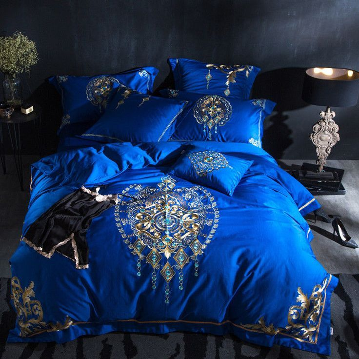 7pc Luxury Royal Blue Gold Jacquard Queen Egyptian Cotton 600tc