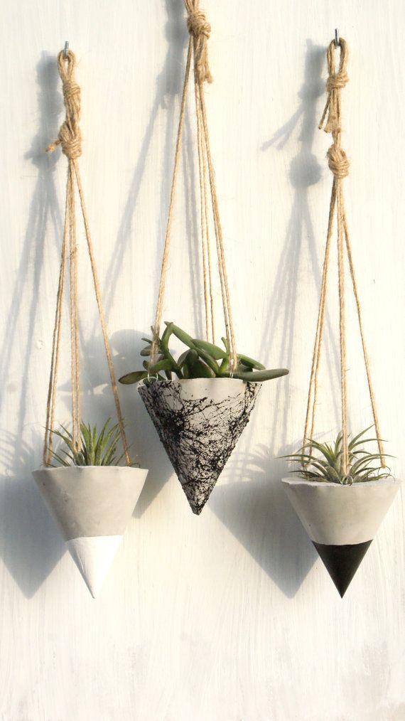 Satz von 3 / hängende konkrete Pflanzer / Beton von InGaConcrete