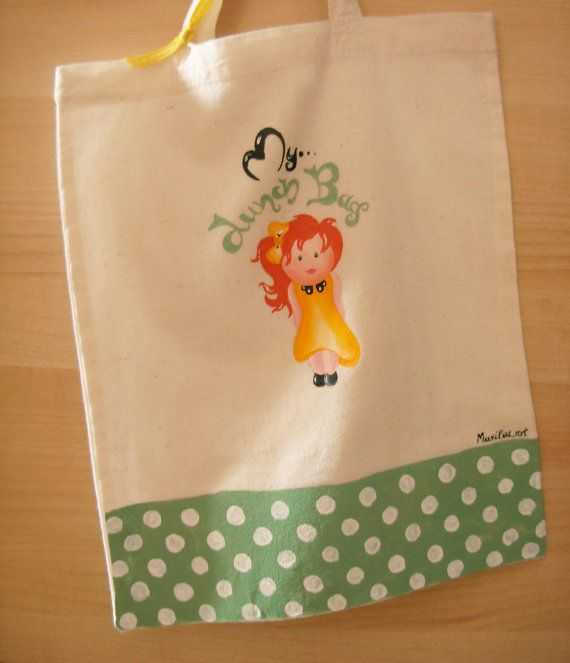Handpainted cotton bag Reusable Lunch bag Polka dot by Marilouart, €16.00