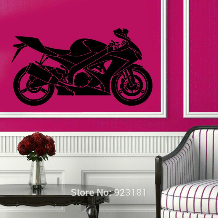 Bike Motorcycle Extreme Riding Sport Wall Art Sticker Decal Home DIY Decoration Wall Mural Removable Room Decor Stickers 57x57cm