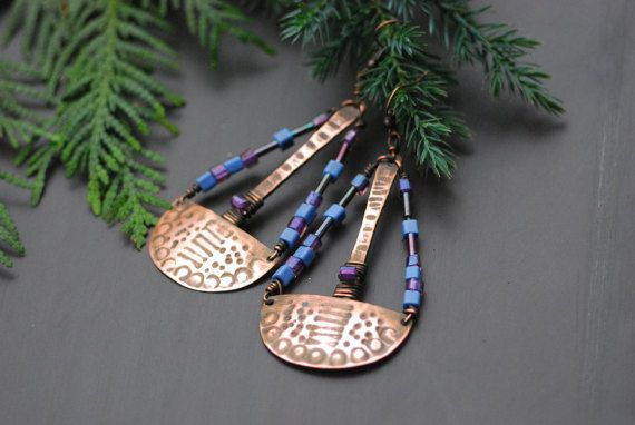 Handmade Copper Earrings Copper Jewelry Wire Wrapped Earrings