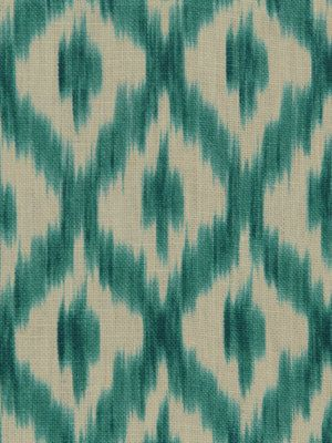 Turquoise Linen Ikat Fabric - Upholstery Weight Linen by the Yard - Blue Ikat Yardage - Ikat Curtain Material - Turquoise Home Decor