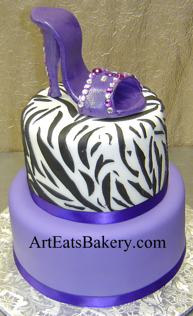 Two tier black, white and purple custom birthday cake with ...
