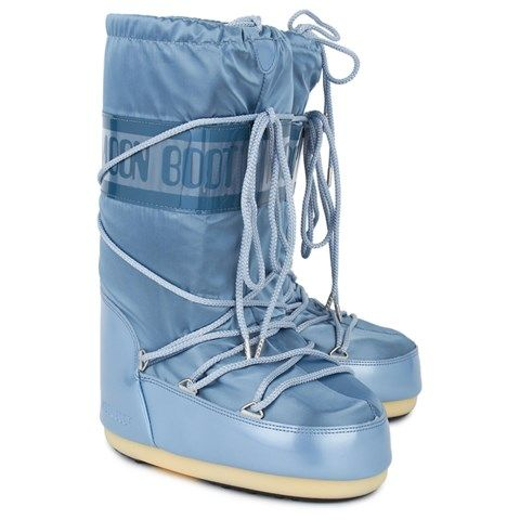 Moon Boot Platinum Blue Shiny Glance Moon Boots