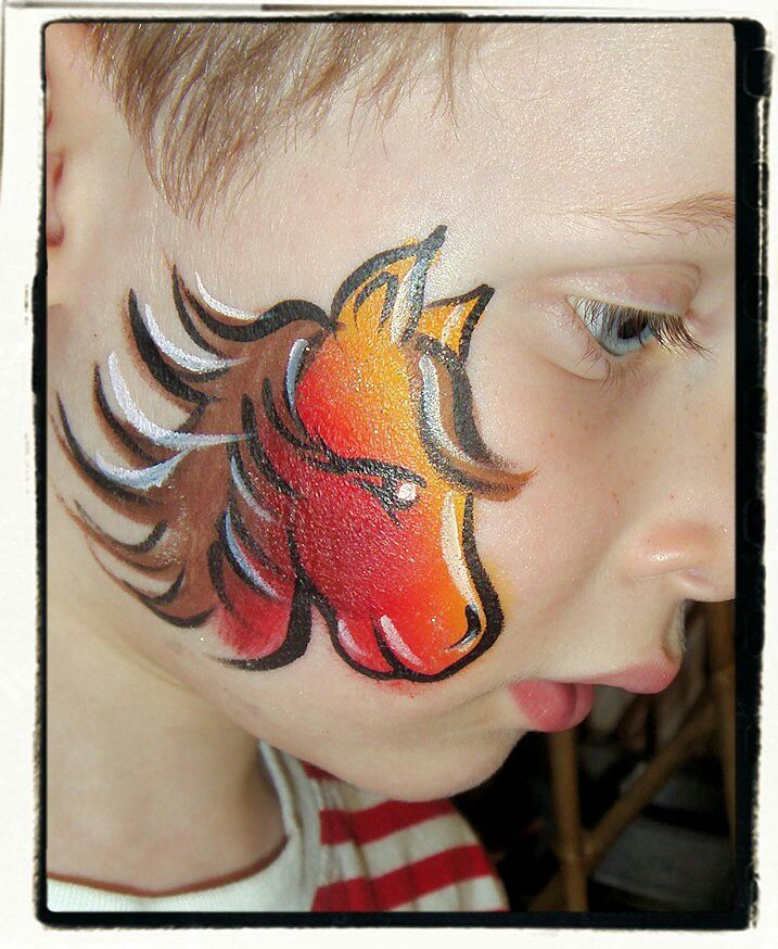 Quick & easy horse face paint, cheek art.