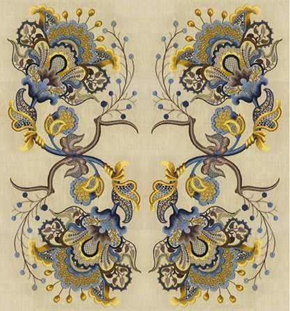 To illustrate some of the many variations possible from a single design, we provide at left the cartoon for the TALLIAFERRORoyal Persian Blossomdesign.