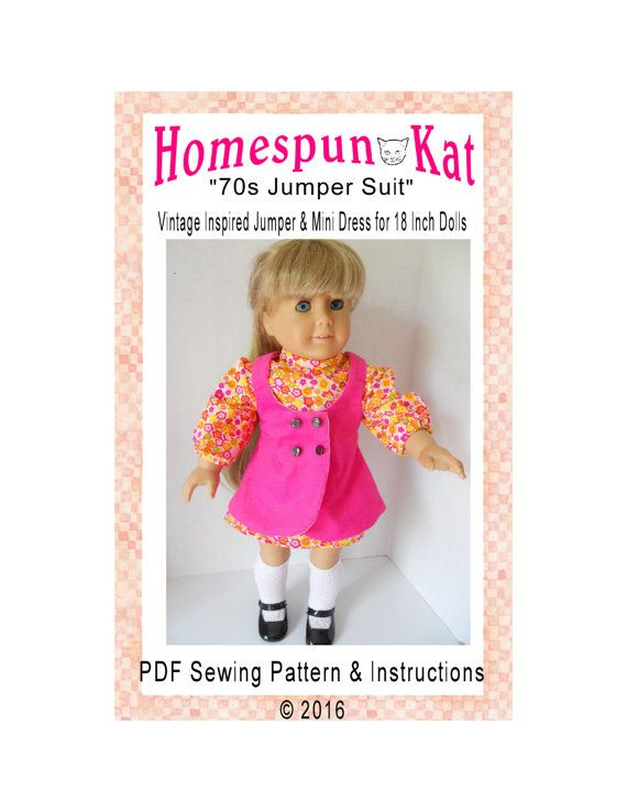 1970s Jumper Suit Sewing Pattern 18 Inch Doll Digital Download PDF