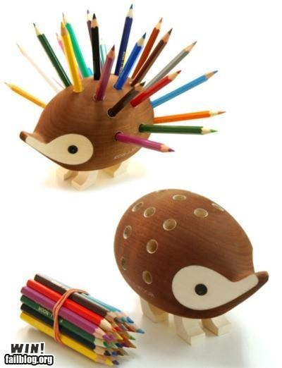 Hedgehog Dolores pencil holder! How cute! Can definitely be dangerous, though...