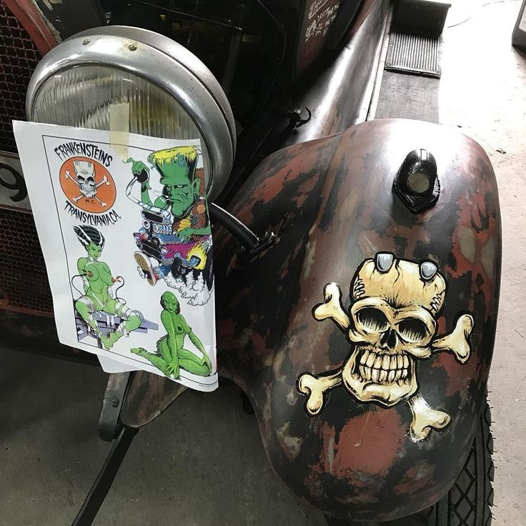 Tattooing cars for the rich and famous  Frankenstein skull by Coop. #lowbrow #1shot.  - Looking for an artist to turn your idea in to a kickass tattoo? Let's talk. Get in touch a jesper@bram.tattoo or direct message. #bramtattoo #jesperbram #tatovering #tatovør #tatoveringer #dansktatovørlaug #copenhagentattoo
