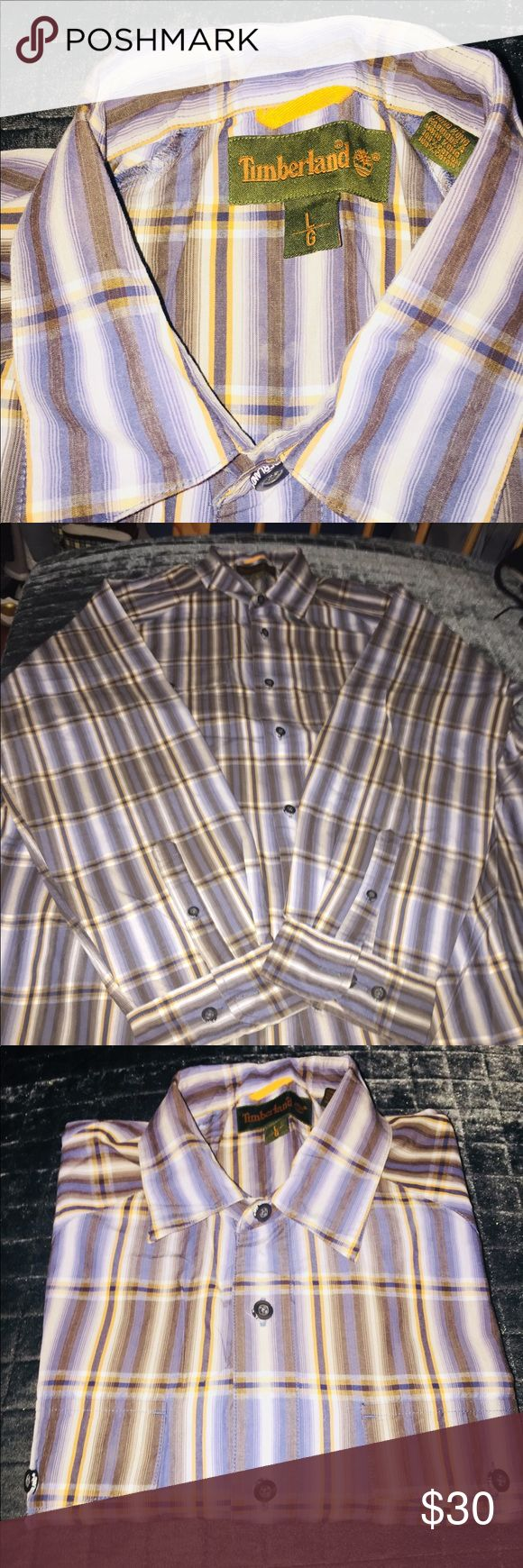 Worn once... like new! Nice color combination... blue/brown with gold Timberland Shirts Casual Button Down Shirts