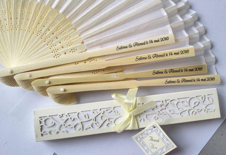 100 stks/partij Gepersonaliseerde Luxe Zijde Vouw hand Fan in Elegant Laser Uitgesneden Geschenkdoos + Party Gunsten/geschenken + afdrukken