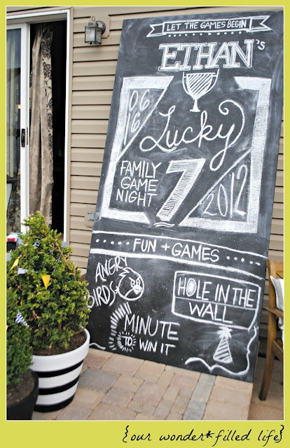 Lucky Seven Family Game Night Chalk Art!Christmas Parties, Fun Parties, Art Parties, Chalkboards Art, Families Games, Chalkboards Signs, Parties Ideas, Parties Signs, Chalk Art