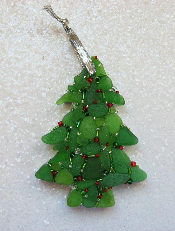 SEA GLASS Christmas TREE  Mosaic Ornament by SeaMosaics on Etsy, $12.50