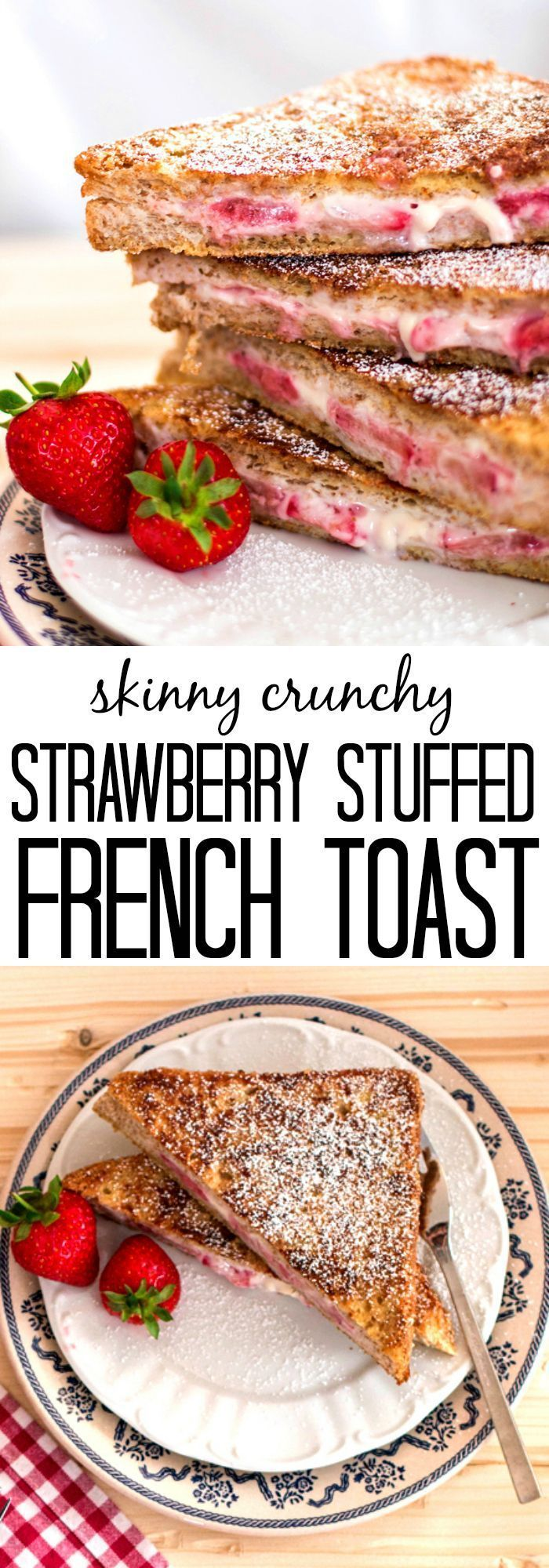 A better-for-you breakfast stuffed with strawberries and cream cheese, coated in a delicious crunchy cinnamon crust! (Stuffed Pancake Healthy)