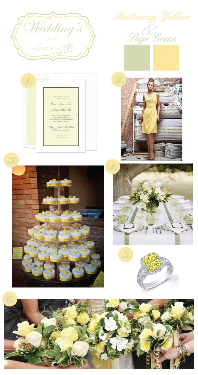 Buttercup Yellow & Sage Green Wedding... Wedding ideas for brides, grooms, parents & planners ... itunes.apple.com/... … plus how to organise an entire wedding, without overspending ♥ The Gold Wedding Planner iPhone App ♥