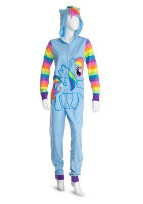 Briefly Stated Girls' Hooded Rainbow Dash One-Piece Pajamas - Multi - Xl