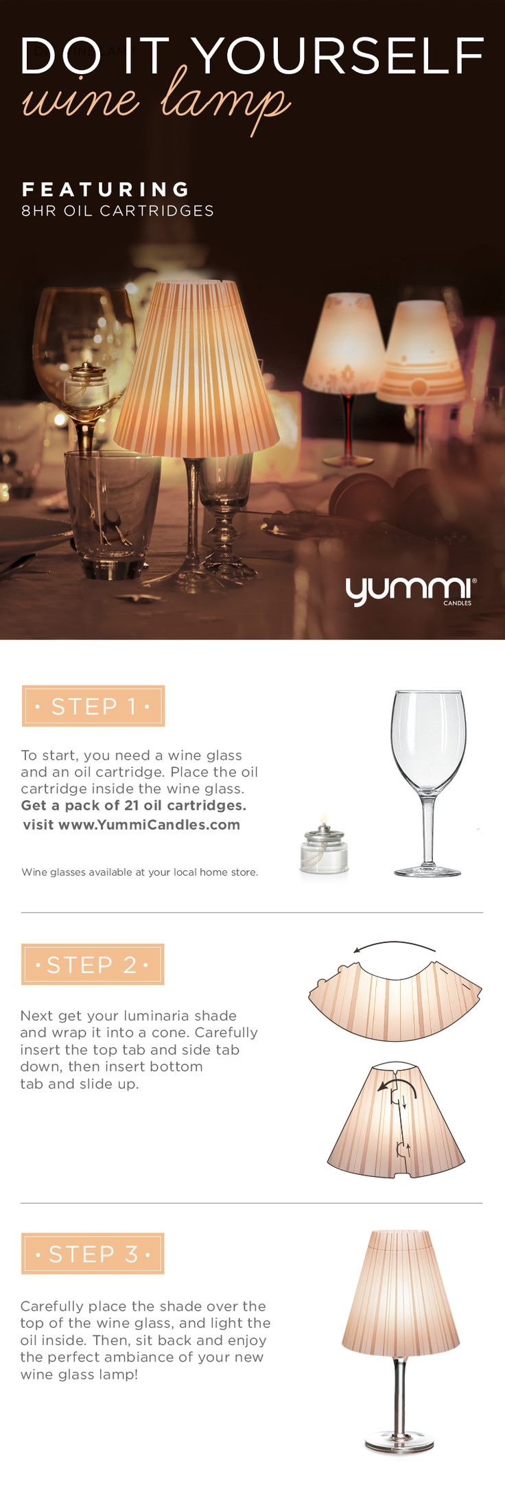 DIY Wine Lamp! Bonus 10% OFF Oil Cartridges Shop Now at www.YummiCandles.com