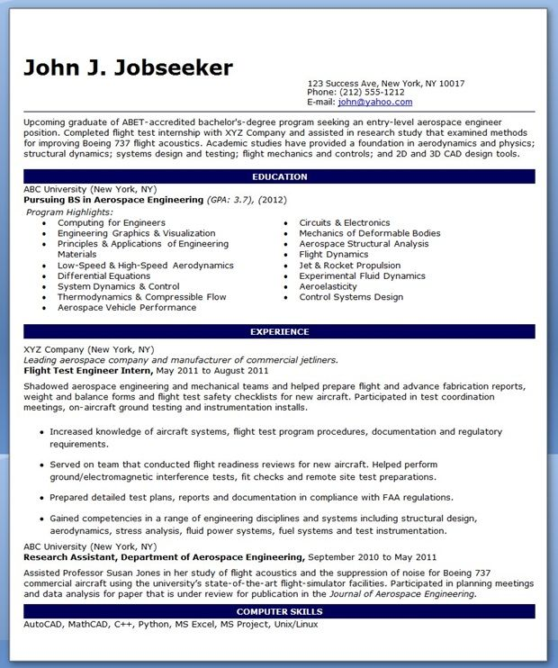 Entry Level Aerospace Engineer Resume Sample