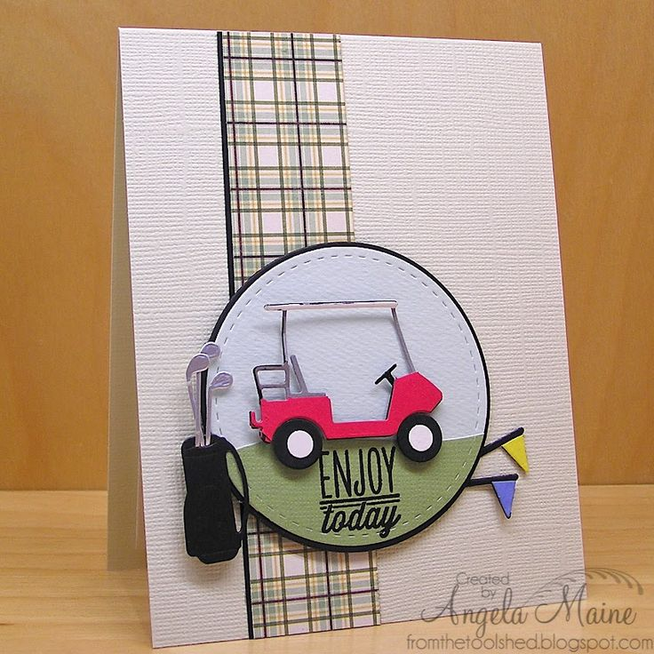 Handmade masculine card by Angela Maine using the Small Packages set from Verve.  #vervestamps