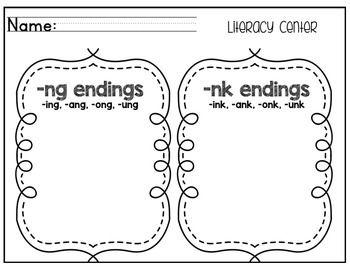 NG AND NK WORD ENDINGS SORT {LITERACY CENTER FREEBIE!} - TeachersPayTeachers.com